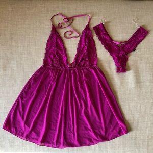 Dreamgirl Raspberry lingerie set